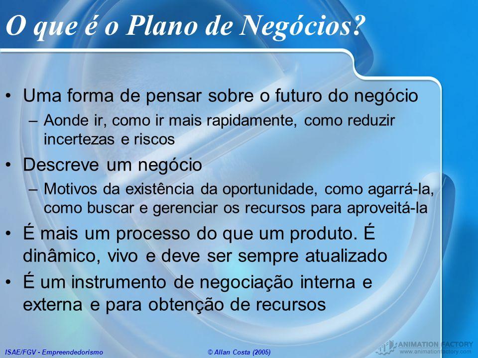 ISAE/FGV - Empreendedorismo© Allan Costa (2005) O que é o Plano de Negócios? Uma forma de pensar sobre o futuro do negócio –Aonde ir, como ir mais rap