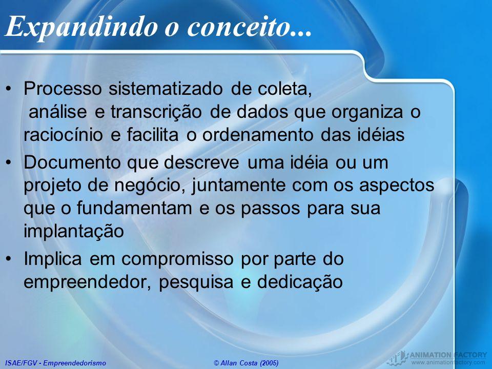ISAE/FGV - Empreendedorismo© Allan Costa (2005) Expandindo o conceito... Processo sistematizado de coleta, análise e transcrição de dados que organiza