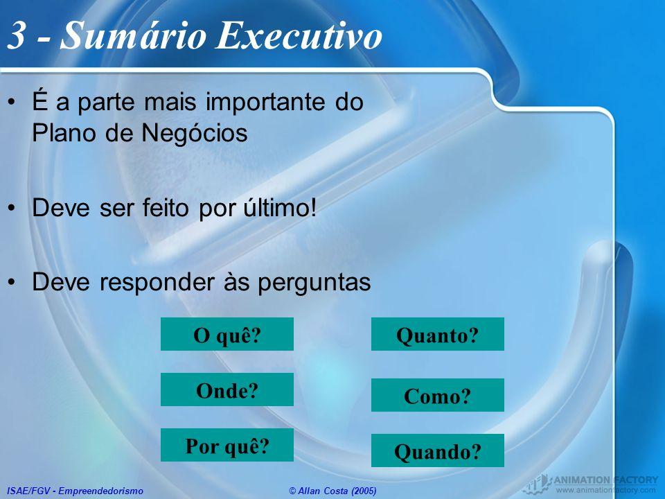 ISAE/FGV - Empreendedorismo© Allan Costa (2005) O quê? Como? Quanto? Onde? Quando? Por quê? 3 - Sumário Executivo É a parte mais importante do Plano d