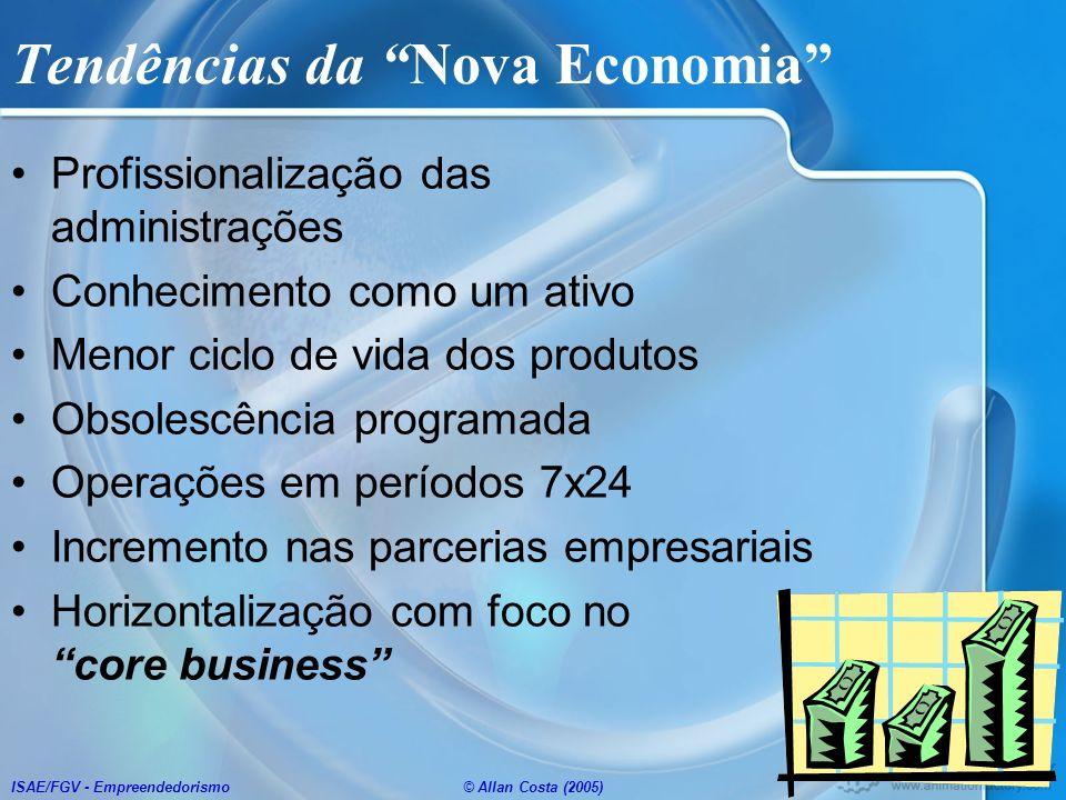 ISAE/FGV - Empreendedorismo© Allan Costa (2005) Tendências da Nova Economia Profissionalização das administrações Conhecimento como um ativo Menor cic