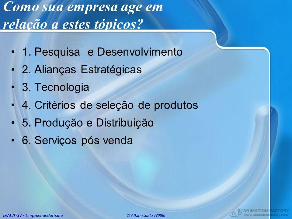 ISAE/FGV - Empreendedorismo© Allan Costa (2005) Como sua empresa age em relação a estes tópicos? 1. Pesquisa e Desenvolvimento 2. Alianças Estratégica