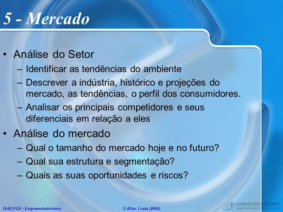 ISAE/FGV - Empreendedorismo© Allan Costa (2005) 5 - Mercado Análise do Setor –Identificar as tendências do ambiente –Descrever a indústria, histórico