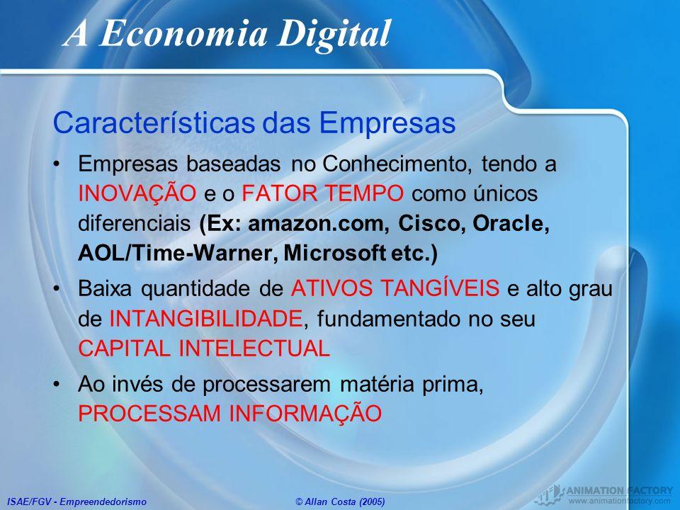 ISAE/FGV - Empreendedorismo© Allan Costa (2005) A Economia Digital Características das Empresas Empresas baseadas no Conhecimento, tendo a INOVAÇÃO e