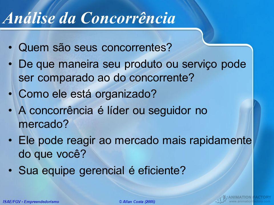 ISAE/FGV - Empreendedorismo© Allan Costa (2005) Análise da Concorrência Quem são seus concorrentes? De que maneira seu produto ou serviço pode ser com