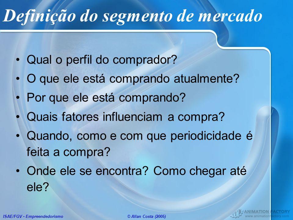 ISAE/FGV - Empreendedorismo© Allan Costa (2005) Definição do segmento de mercado Qual o perfil do comprador? O que ele está comprando atualmente? Por