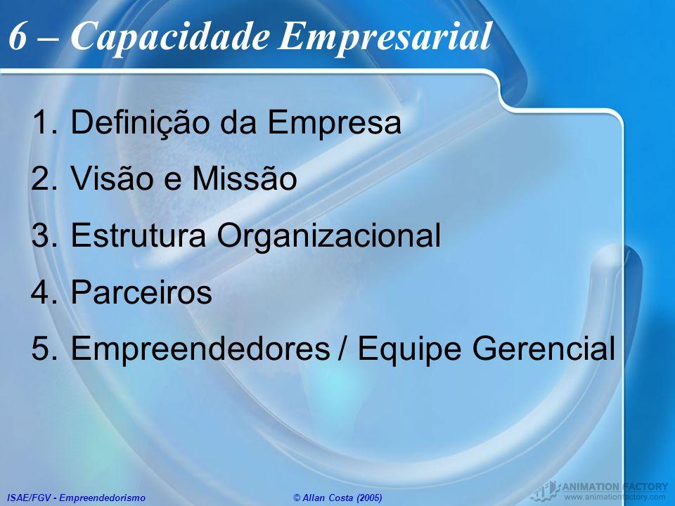 ISAE/FGV - Empreendedorismo© Allan Costa (2005) 6 – Capacidade Empresarial 1.Definição da Empresa 2.Visão e Missão 3.Estrutura Organizacional 4.Parcei