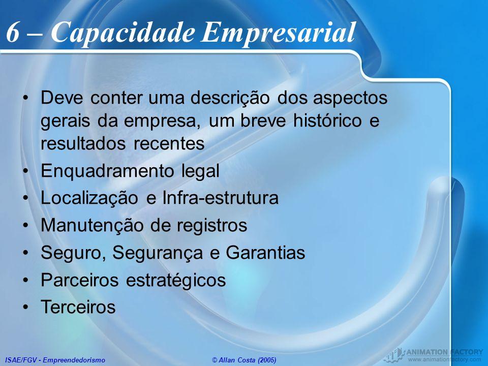 ISAE/FGV - Empreendedorismo© Allan Costa (2005) Deve conter uma descrição dos aspectos gerais da empresa, um breve histórico e resultados recentes Enq