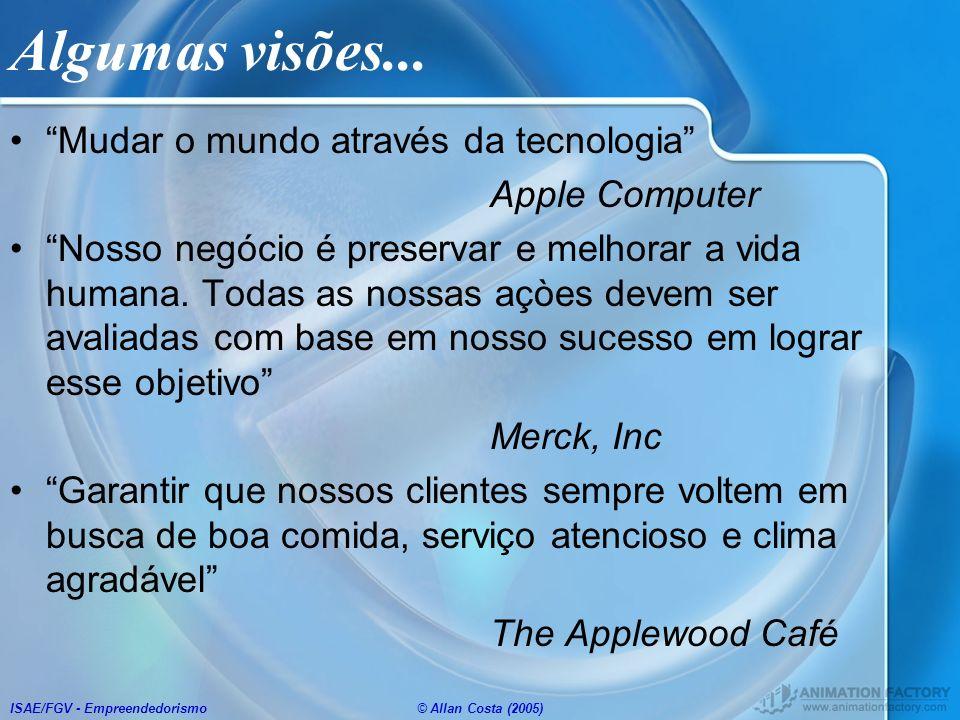 ISAE/FGV - Empreendedorismo© Allan Costa (2005) Algumas visões... Mudar o mundo através da tecnologia Apple Computer Nosso negócio é preservar e melho