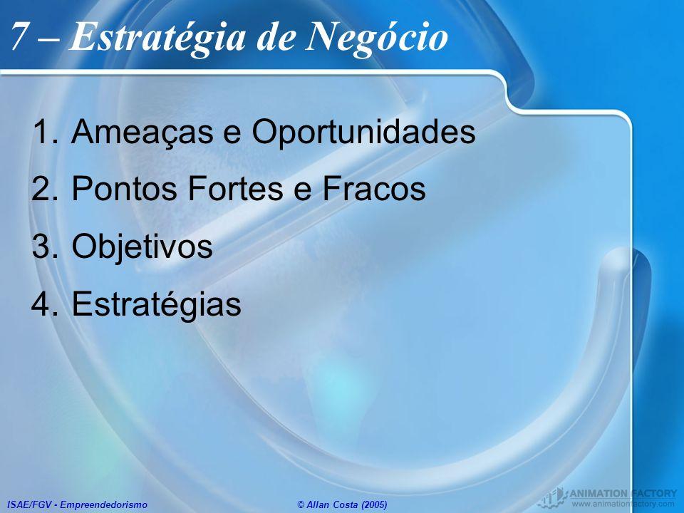 ISAE/FGV - Empreendedorismo© Allan Costa (2005) 7 – Estratégia de Negócio 1.Ameaças e Oportunidades 2.Pontos Fortes e Fracos 3.Objetivos 4.Estratégias
