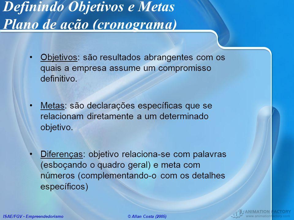 ISAE/FGV - Empreendedorismo© Allan Costa (2005) Definindo Objetivos e Metas Plano de ação (cronograma) Objetivos: são resultados abrangentes com os qu