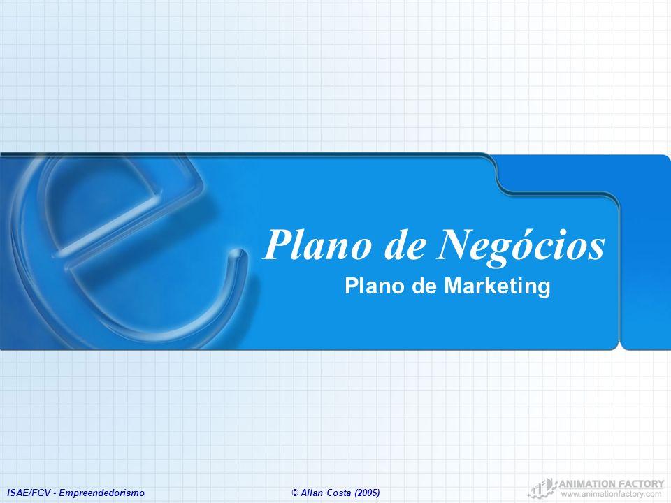ISAE/FGV - Empreendedorismo© Allan Costa (2005) Plano de Negócios Plano de Marketing