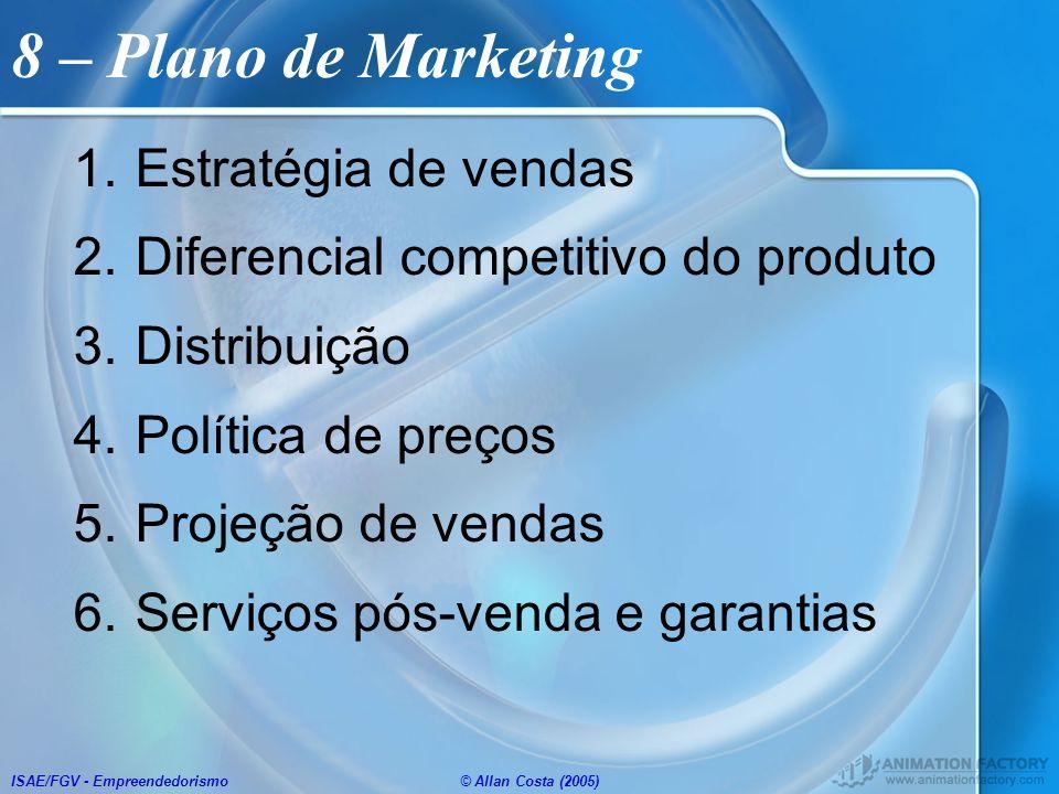 ISAE/FGV - Empreendedorismo© Allan Costa (2005) 8 – Plano de Marketing 1.Estratégia de vendas 2.Diferencial competitivo do produto 3.Distribuição 4.Po