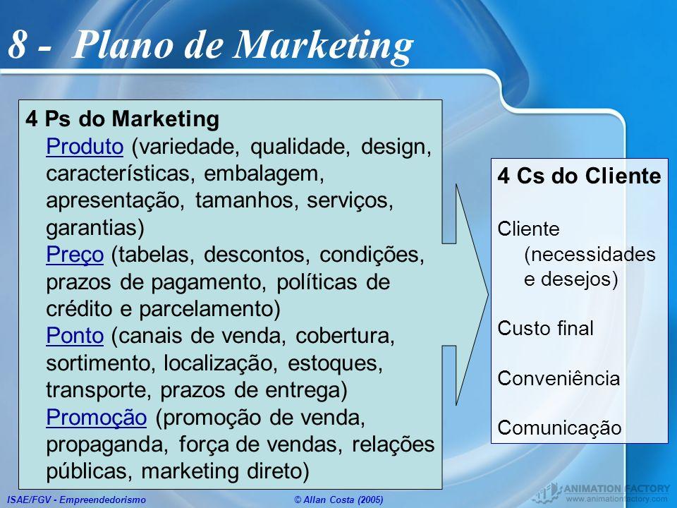 ISAE/FGV - Empreendedorismo© Allan Costa (2005) 8 - Plano de Marketing 4 Ps do Marketing Produto (variedade, qualidade, design, características, embal