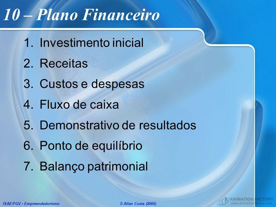 ISAE/FGV - Empreendedorismo© Allan Costa (2005) 10 – Plano Financeiro 1.Investimento inicial 2.Receitas 3.Custos e despesas 4.Fluxo de caixa 5.Demonst