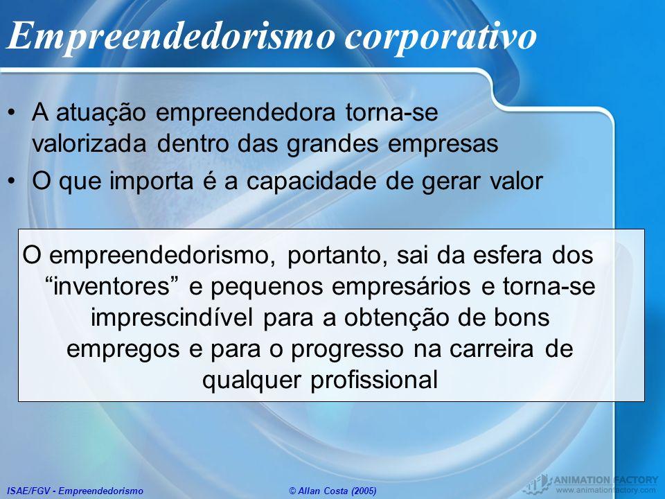 ISAE/FGV - Empreendedorismo© Allan Costa (2005) Empreendedorismo corporativo A atuação empreendedora torna-se valorizada dentro das grandes empresas O