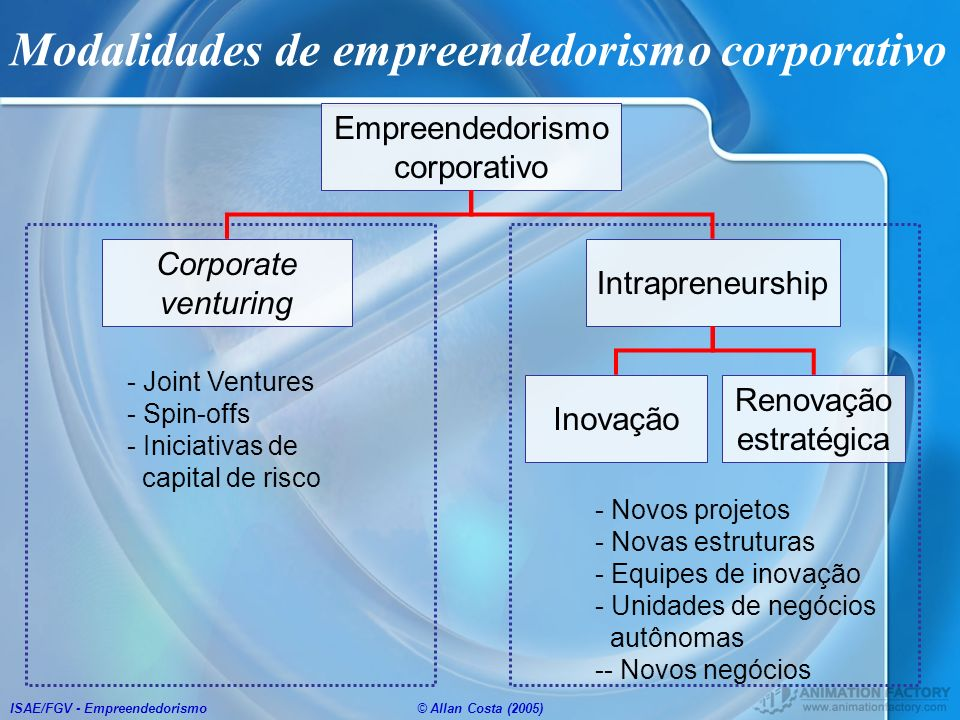 ISAE/FGV - Empreendedorismo© Allan Costa (2005) Modalidades de empreendedorismo corporativo Empreendedorismo corporativo Intrapreneurship Corporate ve