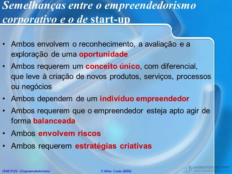 ISAE/FGV - Empreendedorismo© Allan Costa (2005) Semelhanças entre o empreendedorismo corporativo e o de start-up Ambos envolvem o reconhecimento, a av