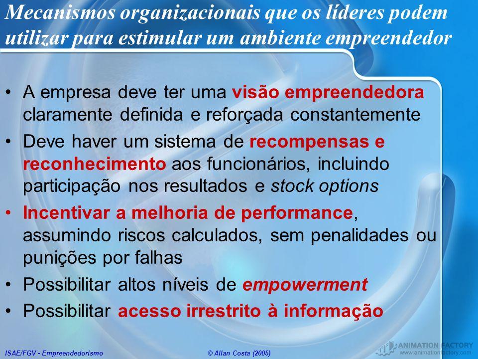 ISAE/FGV - Empreendedorismo© Allan Costa (2005) Mecanismos organizacionais que os líderes podem utilizar para estimular um ambiente empreendedor A emp