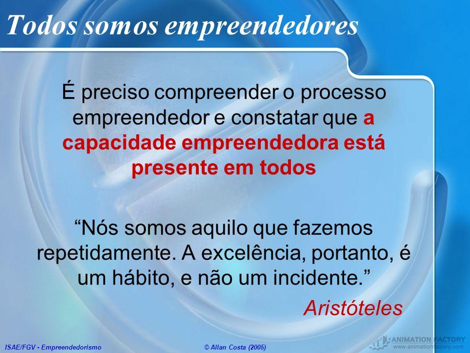 ISAE/FGV - Empreendedorismo© Allan Costa (2005) Todos somos empreendedores É preciso compreender o processo empreendedor e constatar que a capacidade