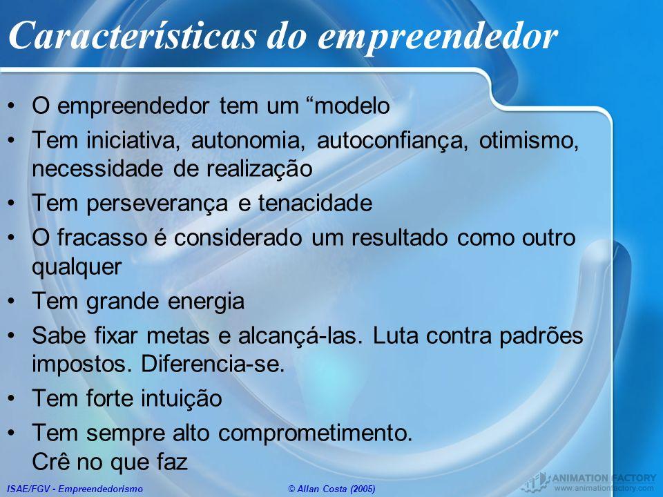 ISAE/FGV - Empreendedorismo© Allan Costa (2005) Características do empreendedor O empreendedor tem um modelo Tem iniciativa, autonomia, autoconfiança,
