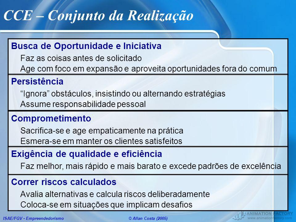 ISAE/FGV - Empreendedorismo© Allan Costa (2005) CCE – Conjunto da Realização Busca de Oportunidade e Iniciativa Faz as coisas antes de solicitado Age