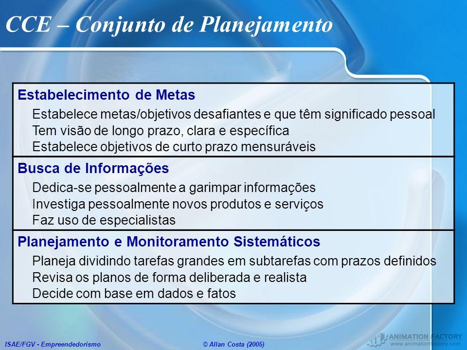 ISAE/FGV - Empreendedorismo© Allan Costa (2005) CCE – Conjunto de Planejamento Estabelecimento de Metas Estabelece metas/objetivos desafiantes e que t