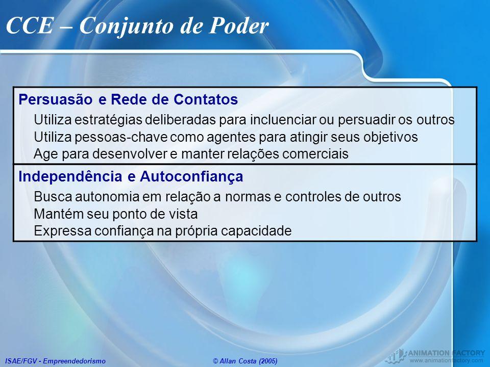 ISAE/FGV - Empreendedorismo© Allan Costa (2005) CCE – Conjunto de Poder Persuasão e Rede de Contatos Utiliza estratégias deliberadas para incluenciar