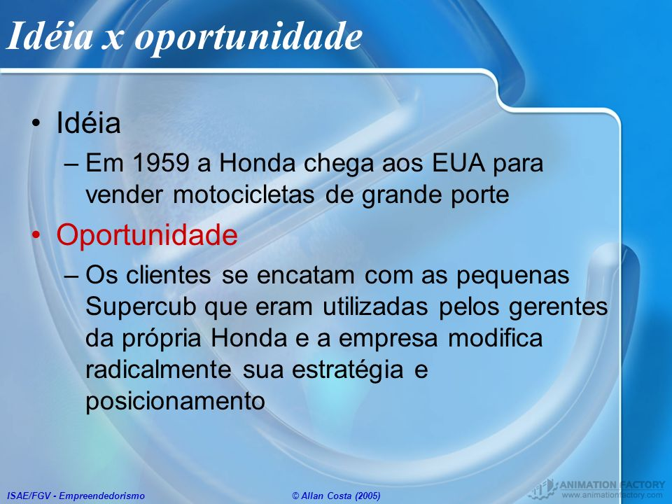 ISAE/FGV - Empreendedorismo© Allan Costa (2005) Idéia x oportunidade Idéia –Em 1959 a Honda chega aos EUA para vender motocicletas de grande porte Opo