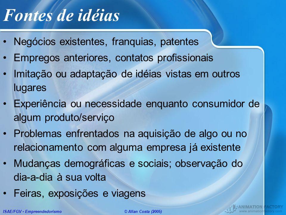 ISAE/FGV - Empreendedorismo© Allan Costa (2005) Fontes de idéias Negócios existentes, franquias, patentes Empregos anteriores, contatos profissionais