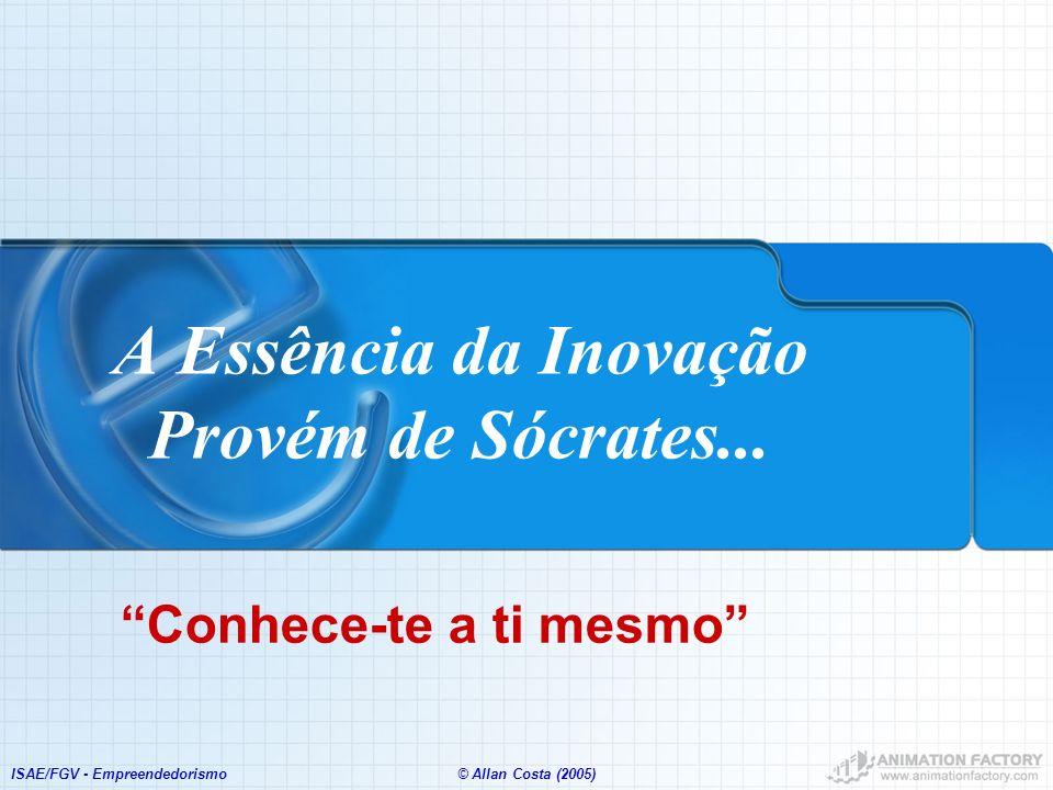 ISAE/FGV - Empreendedorismo© Allan Costa (2005) A Essência da Inovação Provém de Sócrates... Conhece-te a ti mesmo