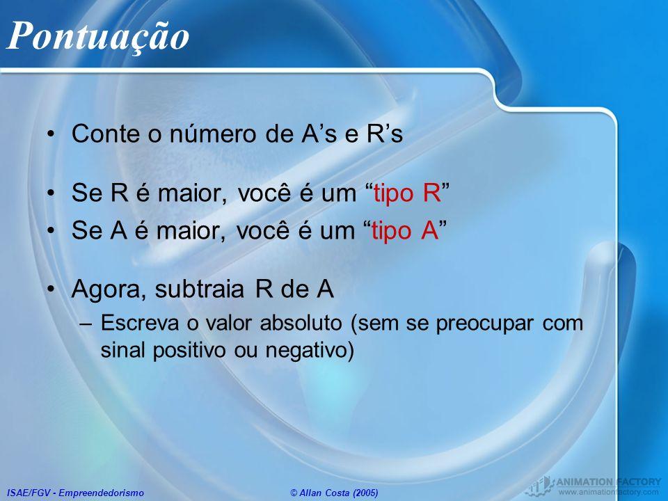 ISAE/FGV - Empreendedorismo© Allan Costa (2005) Pontuação Conte o número de As e Rs Se R é maior, você é um tipo R Se A é maior, você é um tipo A Agor