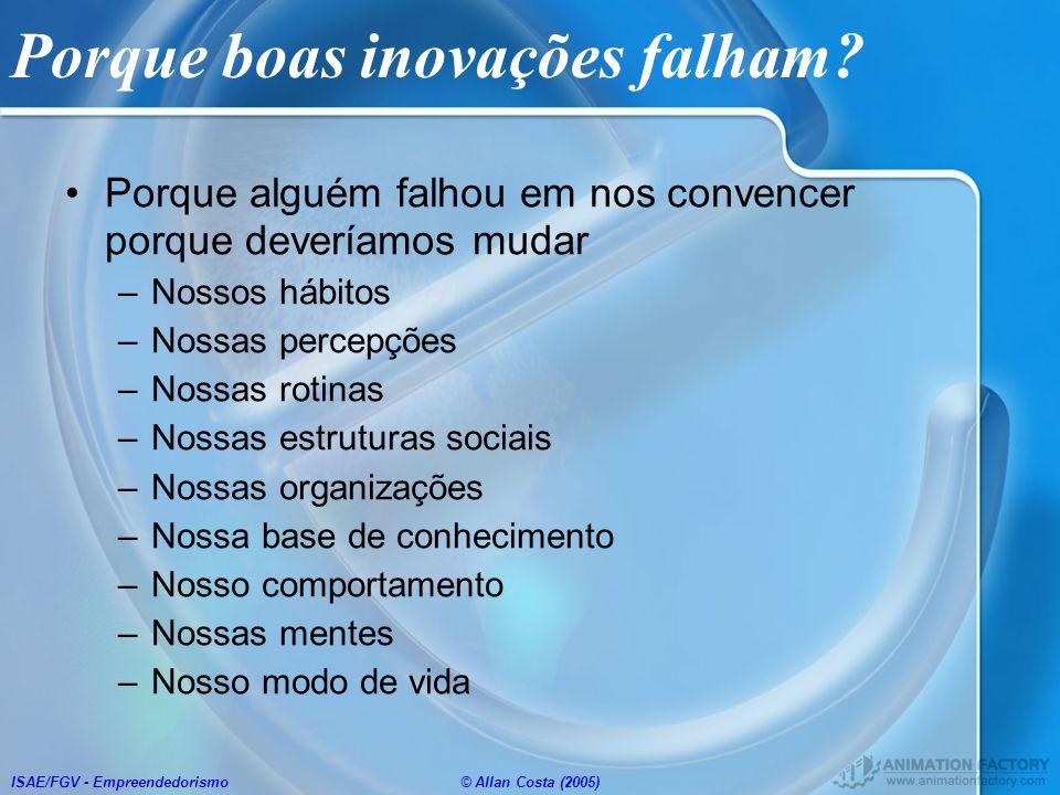 ISAE/FGV - Empreendedorismo© Allan Costa (2005) Porque boas inovações falham? Porque alguém falhou em nos convencer porque deveríamos mudar –Nossos há