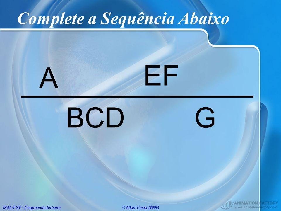 ISAE/FGV - Empreendedorismo© Allan Costa (2005) Complete a Sequência Abaixo A G EF BCD