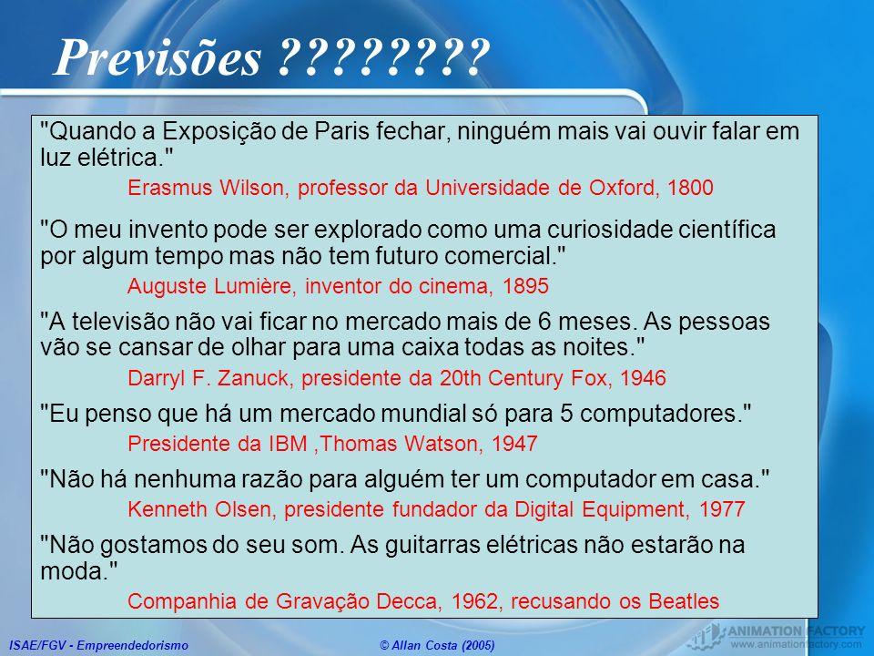 ISAE/FGV - Empreendedorismo© Allan Costa (2005) Previsões ????????