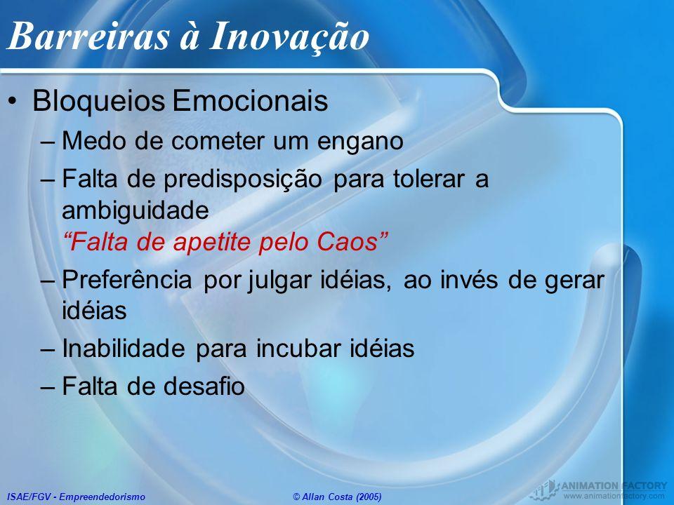 ISAE/FGV - Empreendedorismo© Allan Costa (2005) Barreiras à Inovação Bloqueios Emocionais –Medo de cometer um engano –Falta de predisposição para tole