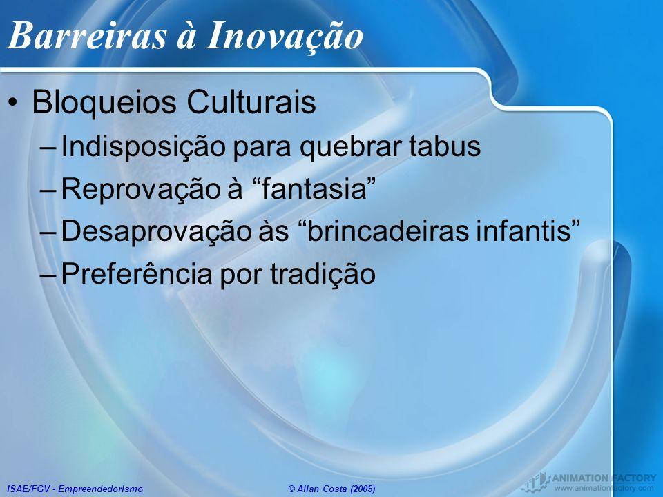 ISAE/FGV - Empreendedorismo© Allan Costa (2005) Barreiras à Inovação Bloqueios Culturais –Indisposição para quebrar tabus –Reprovação à fantasia –Desa
