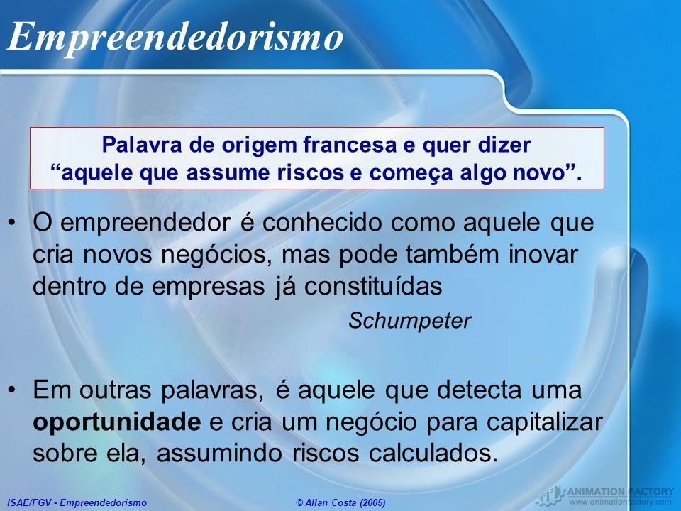 ISAE/FGV - Empreendedorismo© Allan Costa (2005) 5 - Mercado Análise do Setor –Identificar as tendências do ambiente –Descrever a indústria, histórico e projeções do mercado, as tendências, o perfil dos consumidores.