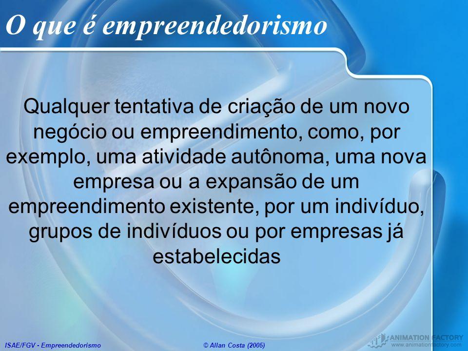 ISAE/FGV - Empreendedorismo© Allan Costa (2005) O que é empreendedorismo Qualquer tentativa de criação de um novo negócio ou empreendimento, como, por