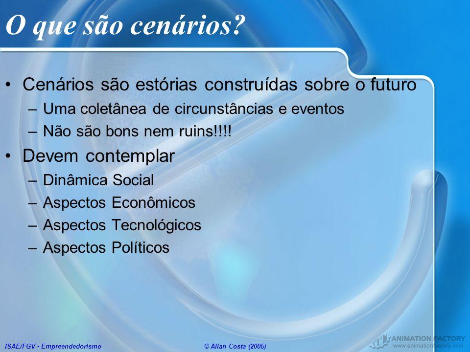ISAE/FGV - Empreendedorismo© Allan Costa (2005) O que são cenários? Cenários são estórias construídas sobre o futuro –Uma coletânea de circunstâncias