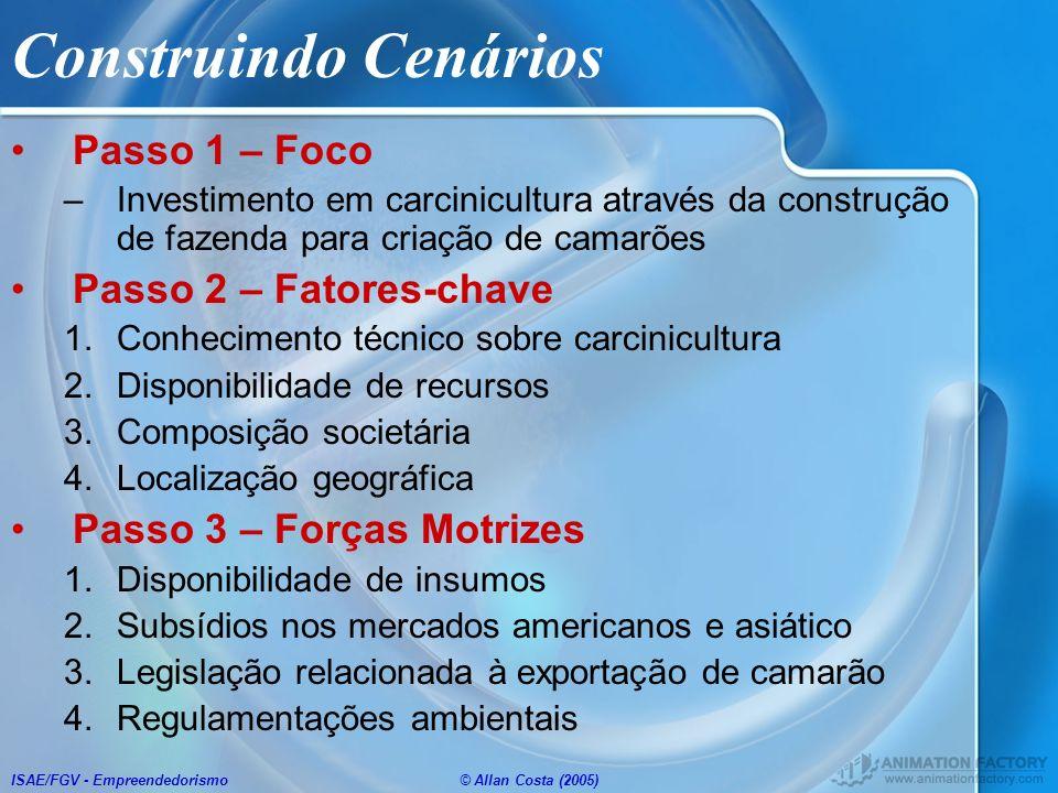 ISAE/FGV - Empreendedorismo© Allan Costa (2005) Construindo Cenários Passo 1 – Foco –Investimento em carcinicultura através da construção de fazenda p