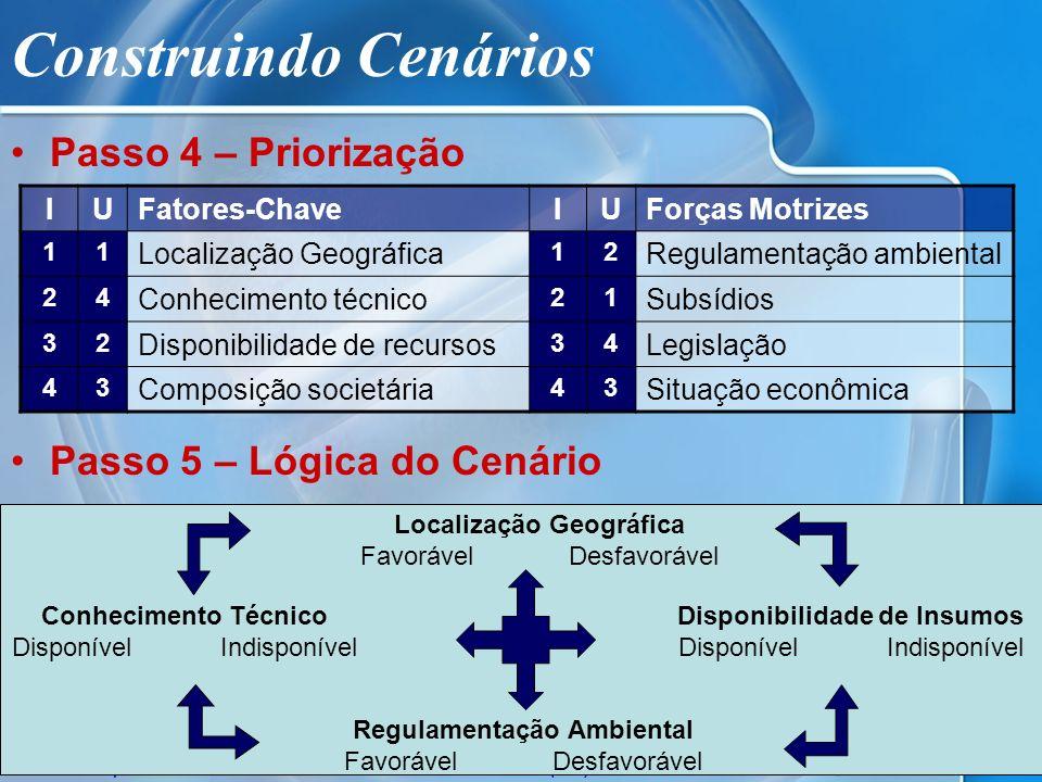 ISAE/FGV - Empreendedorismo© Allan Costa (2005) Construindo Cenários Passo 4 – Priorização Passo 5 – Lógica do Cenário IUFatores-ChaveIUForças Motrize