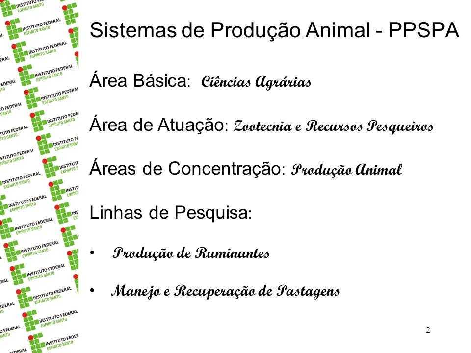 Sistemas de Produção Animal - PPSPA 2 Área Básica : Ciências Agrárias Área de Atuação : Zootecnia e Recursos Pesqueiros Áreas de Concentração : Produção Animal Linhas de Pesquisa : Produção de Ruminantes Manejo e Recuperação de Pastagens