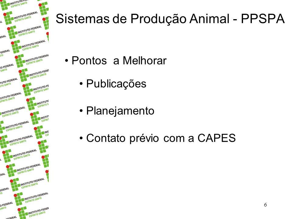 Sistemas de Produção Animal - PPSPA 7 A comissão agradece A Pró-reitoria Incaper Empresas – cartas de apoio Ao Campus de Alegre Aos Professores da CAPES Outros