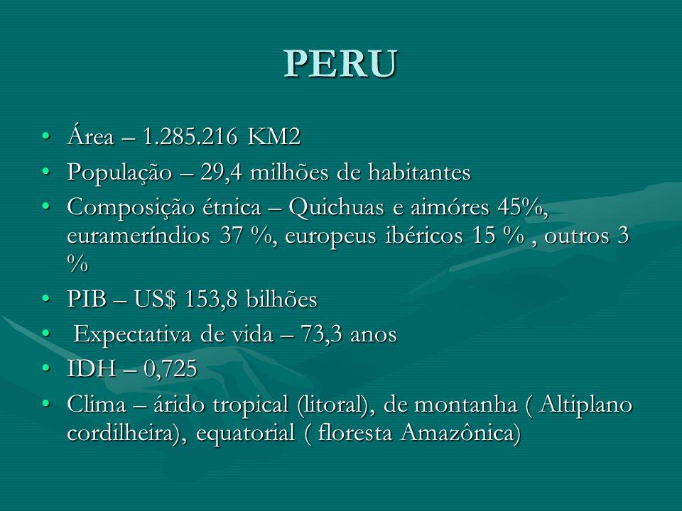 PERU Área – 1.285.216 KM2Área – 1.285.216 KM2 População – 29,4 milhões de habitantesPopulação – 29,4 milhões de habitantes Composição étnica – Quichuas e aimóres 45%, eurameríndios 37 %, europeus ibéricos 15 %, outros 3 %Composição étnica – Quichuas e aimóres 45%, eurameríndios 37 %, europeus ibéricos 15 %, outros 3 % PIB – US$ 153,8 bilhõesPIB – US$ 153,8 bilhões Expectativa de vida – 73,3 anos Expectativa de vida – 73,3 anos IDH – 0,725IDH – 0,725 Clima – árido tropical (litoral), de montanha ( Altiplano cordilheira), equatorial ( floresta Amazônica)Clima – árido tropical (litoral), de montanha ( Altiplano cordilheira), equatorial ( floresta Amazônica)