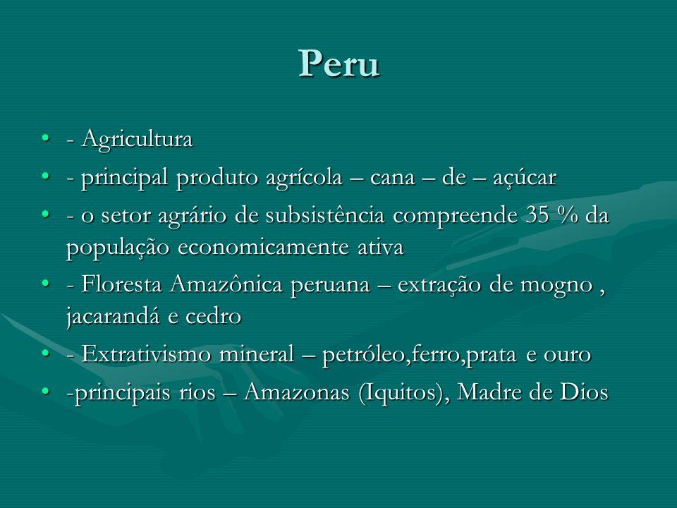 Peru - Agricultura- Agricultura - principal produto agrícola – cana – de – açúcar- principal produto agrícola – cana – de – açúcar - o setor agrário de subsistência compreende 35 % da população economicamente ativa- o setor agrário de subsistência compreende 35 % da população economicamente ativa - Floresta Amazônica peruana – extração de mogno, jacarandá e cedro- Floresta Amazônica peruana – extração de mogno, jacarandá e cedro - Extrativismo mineral – petróleo,ferro,prata e ouro- Extrativismo mineral – petróleo,ferro,prata e ouro -principais rios – Amazonas (Iquitos), Madre de Dios-principais rios – Amazonas (Iquitos), Madre de Dios