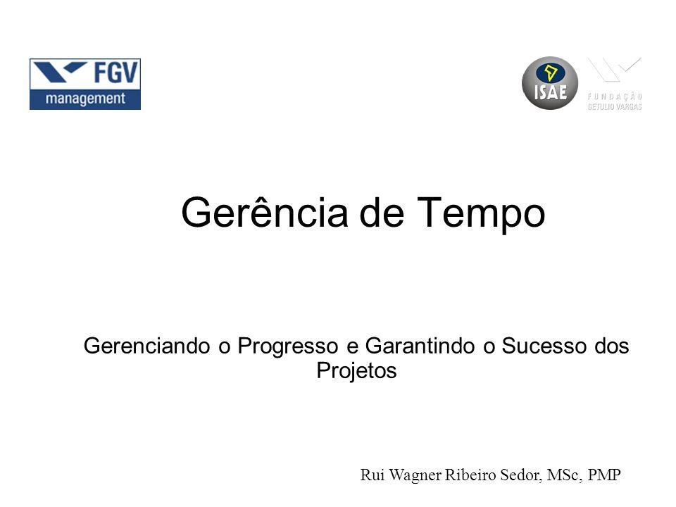 Gerência de Tempo Gerenciando o Progresso e Garantindo o Sucesso dos Projetos Rui Wagner Ribeiro Sedor, MSc, PMP