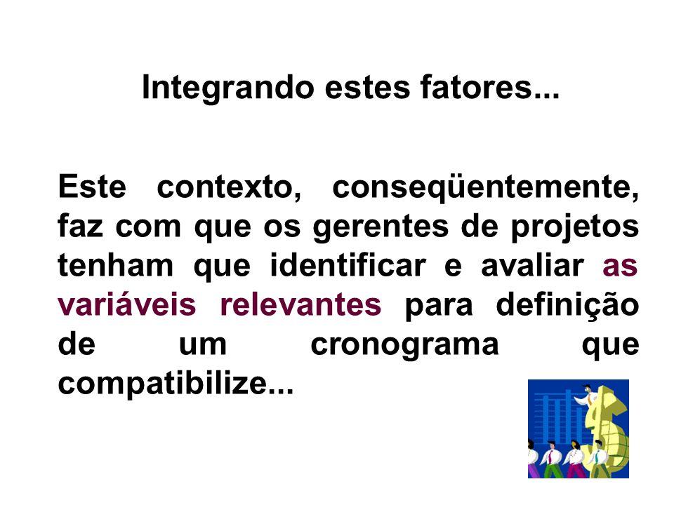 Este contexto, conseqüentemente, faz com que os gerentes de projetos tenham que identificar e avaliar as variáveis relevantes para definição de um cro