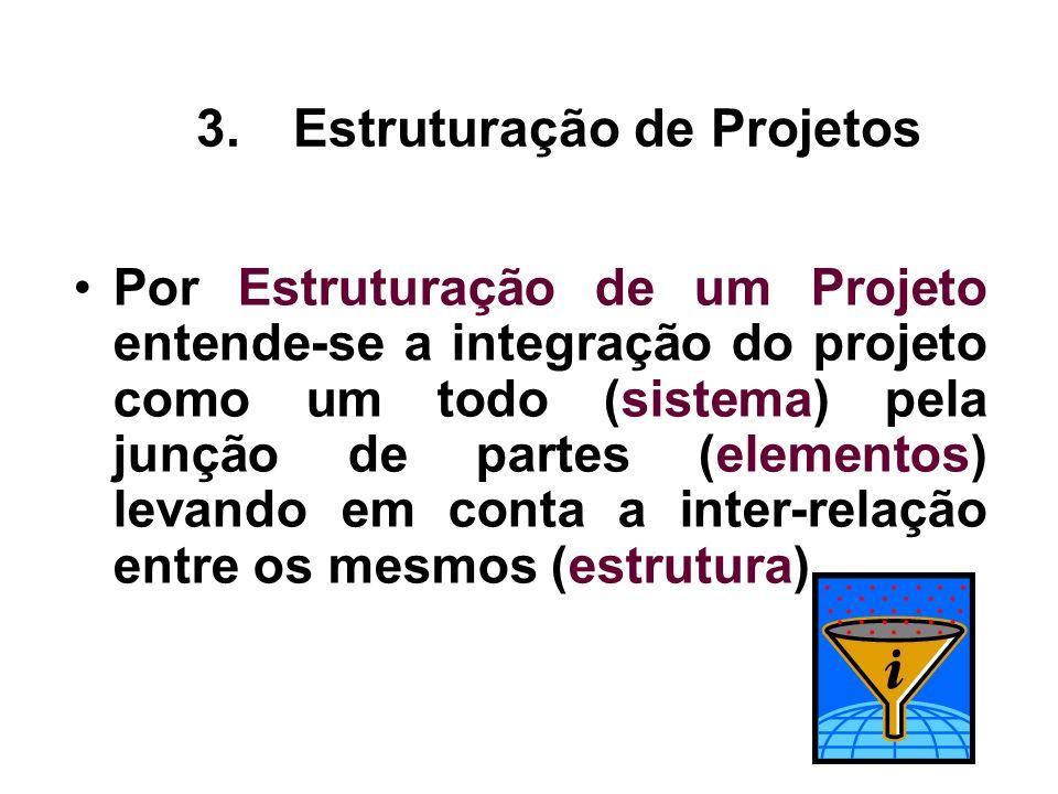 Por Estruturação de um Projeto entende-se a integração do projeto como um todo (sistema) pela junção de partes (elementos) levando em conta a inter-re