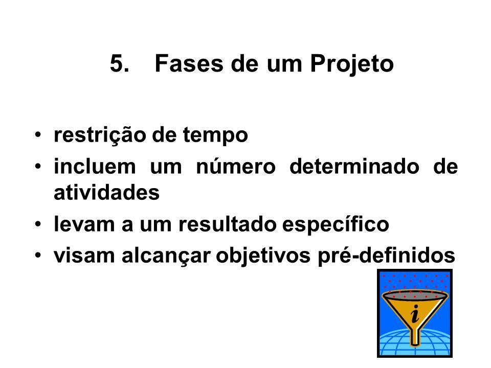 restrição de tempo incluem um número determinado de atividades levam a um resultado específico visam alcançar objetivos pré-definidos 5.Fases de um Pr