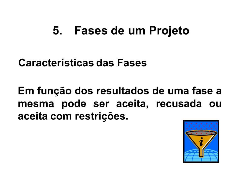 Em função dos resultados de uma fase a mesma pode ser aceita, recusada ou aceita com restrições. 5.Fases de um Projeto Características das Fases